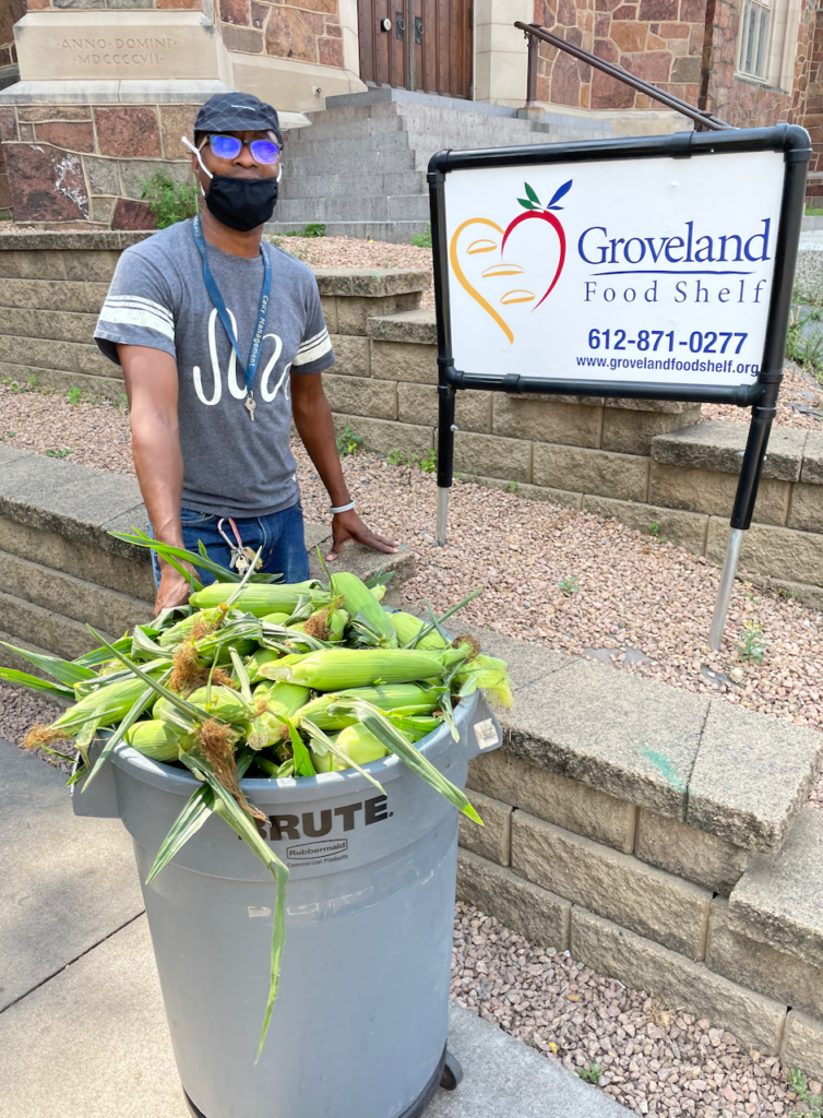 Sweet Corn being delivered to Groveland Bood Shelf