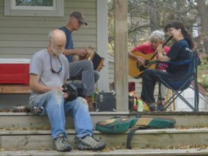 Musicians playing at the squash harvest