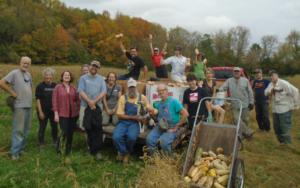 Squash harvest volunteers group photo