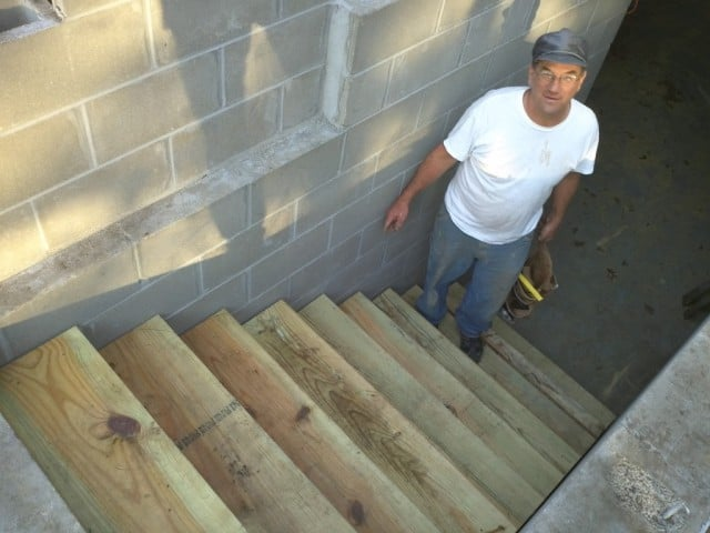 Mike with the cellar stairs